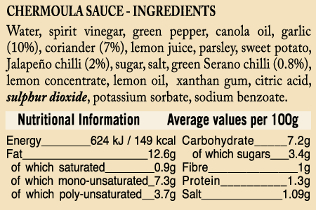 Ukuva iAfrica Chermoula Sauce Ingredients and Nutritional information