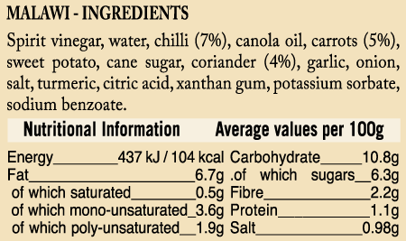 Ingredient and nutri of Ukuva iAfrica Malawi Gold Sauce