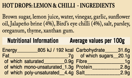 Ukuva iAfrica Lemon Hot Drops Sauce Ingredients and Nutritional information